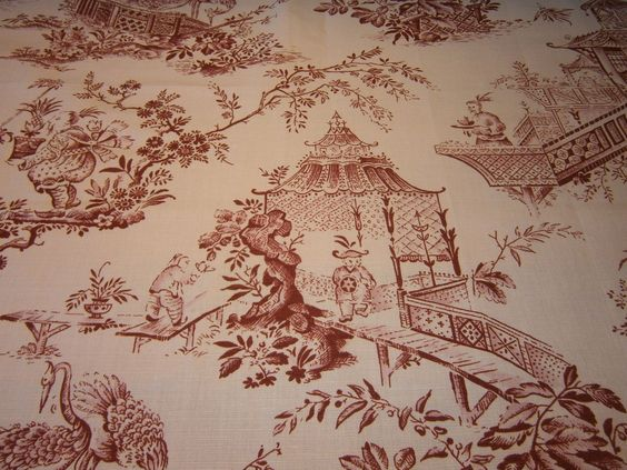 Chinese Oriental Toile DE Jouy Chinoiserie Fabric Sample | eBay