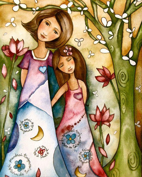 Madre e hija bosque caprichoso
