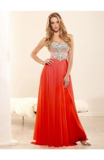 A-line Sweetheart Sleeveless Empire Waist Chiffon Prom Dresses With Rhinestone