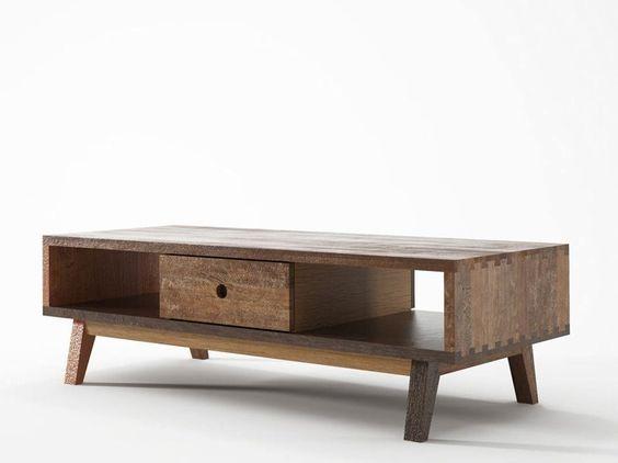 Rechteckiger Couchtisch aus Holz mit integriertem Zeitungsständer für Wohnzimmer Kollektion Brooklyn by KARPENTER   Design KARPENTER