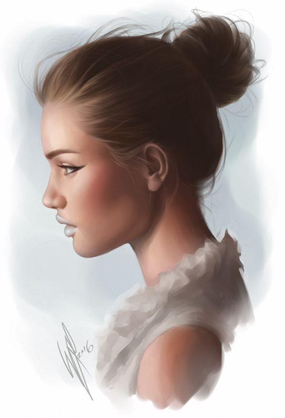 """Happy 2016!"" - WarrenLouw, Photoshop CS3, 2016 {figurative art beautiful female head profile woman face portrait digital painting #loveart} warrenlouw.deviantart.com"