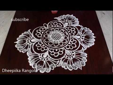 Big Freehand Lotus Rangoli Design Festival Special Muggulu