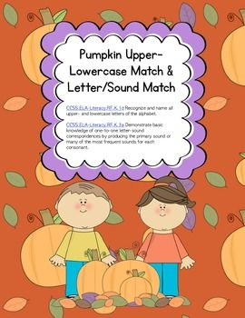 ABC Pumpkin- Letters and Sounds Matching Game for Word Work ...