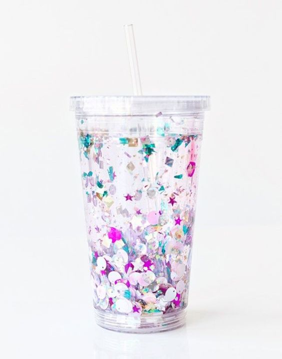 Gift your bridesmaids with a DIY floating glitter tumbler at your bridal shower.