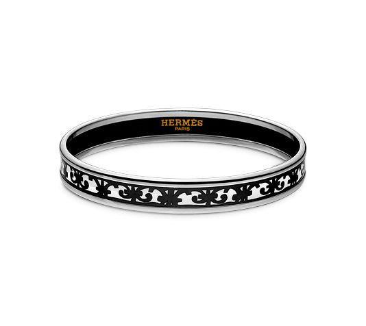 HERMES Balcons du Guadalquivir Bracelet fin en émail Noir plaqué argent et palladium (diamètre : 6,5 cm) 357