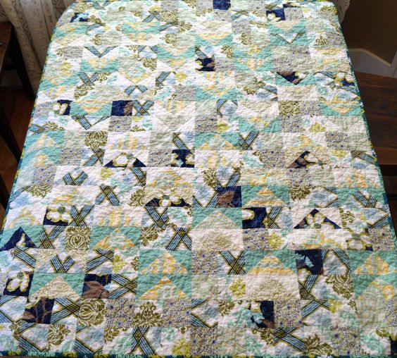 Blue and Green Modern Baby Quilt, Gender Neutral Patchwork Baby Blanket, Olive, Turquoise and Navy Blue Infant Crib Quilt by MyBitOfWonder on Etsy: