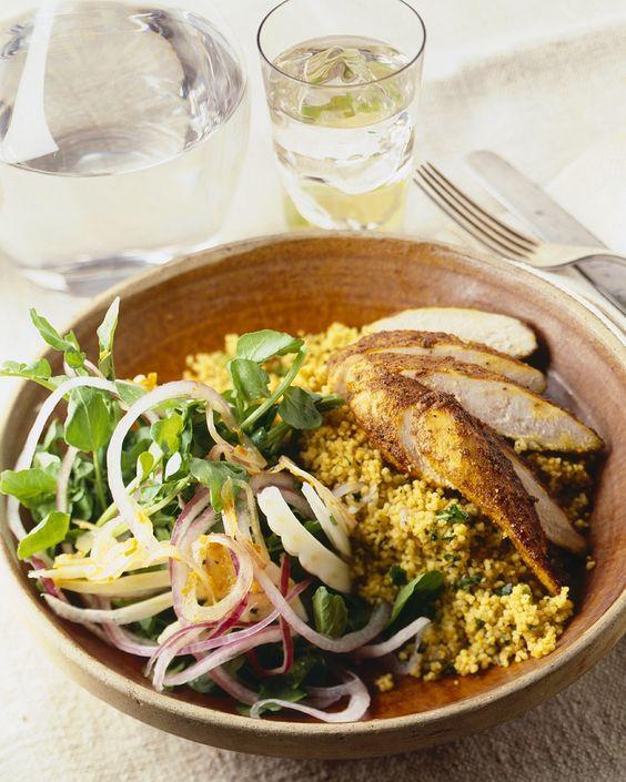 Curry-Hähnchen mit Couscous   Zeit: 40 Min.   http://eatsmarter.de/rezepte/curry-haehnchen-mit-couscous