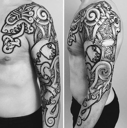 50 Keltische Wolf Tattoo Designs Fur Manner Knotwork Ink Ideen Mann Stil Tattoo Celtic Wolf Tattoo Scottish Tattoos Celtic Sleeve Tattoos