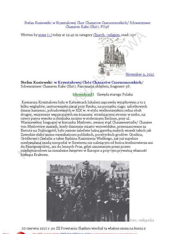 I'm reading Chor Chazarow Czarnomorskich 20121109 Stefan Kosiewski: Fascynacja obledem 98 Gaweda starego Polaka on Scribd