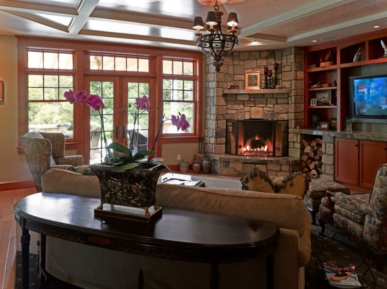 Narrow Family Room Designs With A Corner Fireplace For