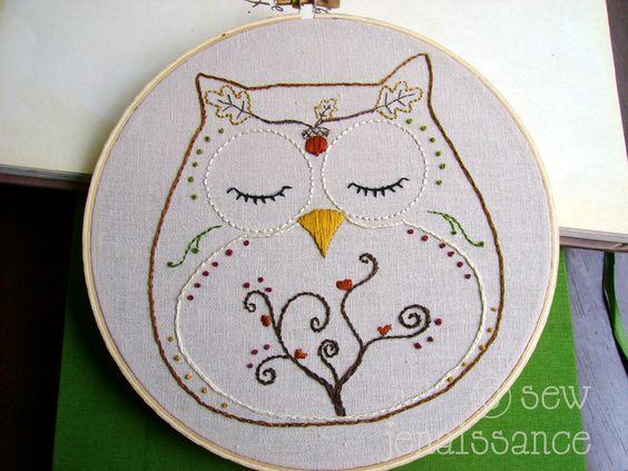 Embroidery Pattern PDF Owl Autumn and Fall Ohli by sewjenaissance, $4.00