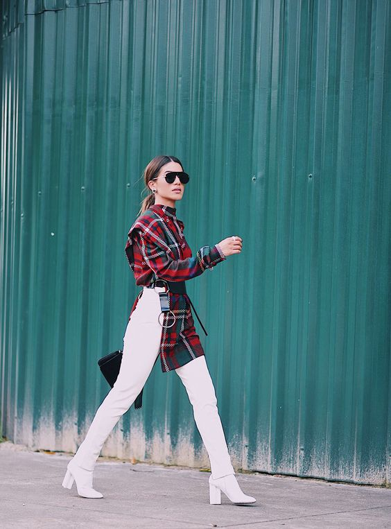 Look of the Day: Plaid and White