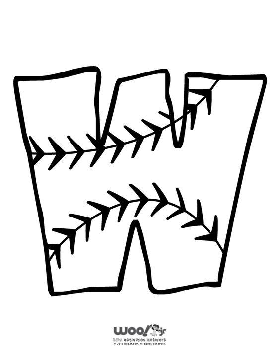 Printable Baseball Alphabet Letters Baseball Alphabet Letter W ...