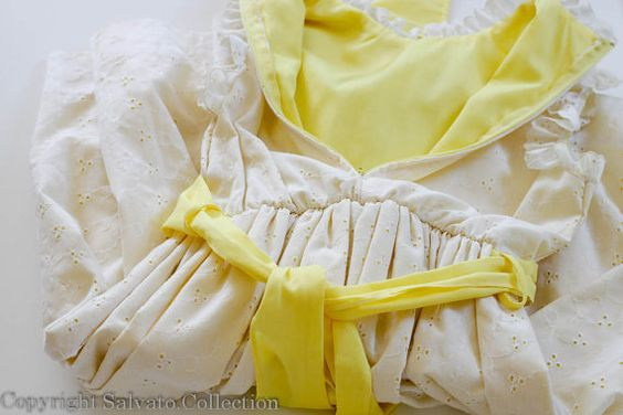 1970s White Eyelet over Yellow Vintage  by SalvatoCollection, $30.00