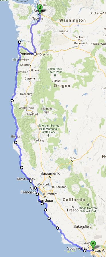 This is my dream road trip: from LA to Astoria, OR on Pacific Coast Highway, then inland to Portland and up to Seattle, and back.