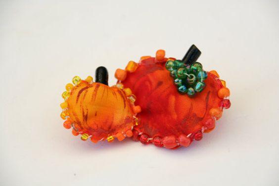 Harvest Pumpkin Patch Folkart Pin  Handmade by PaintFabricWhimsy