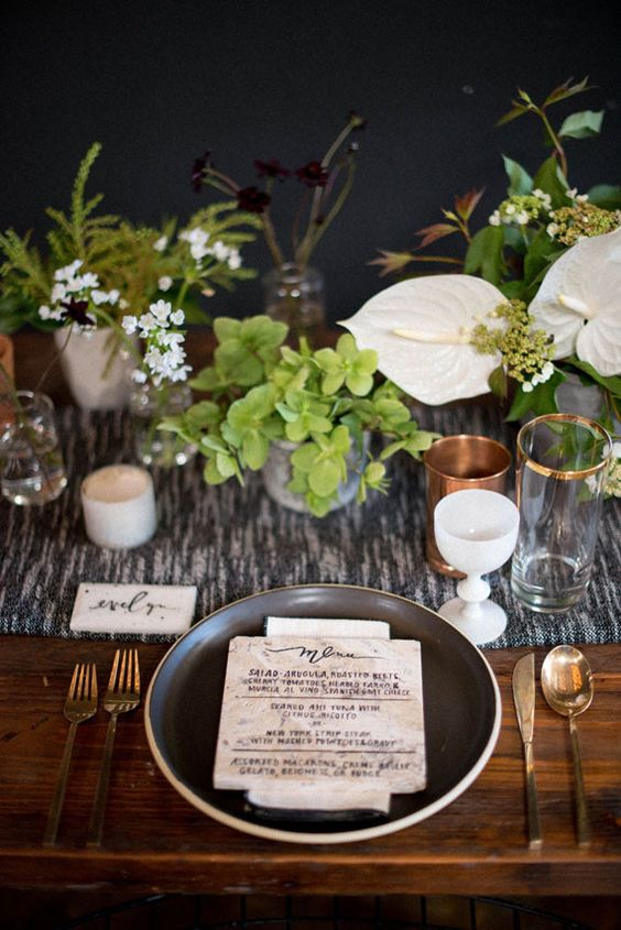 Rustic modern wedding tablescape: