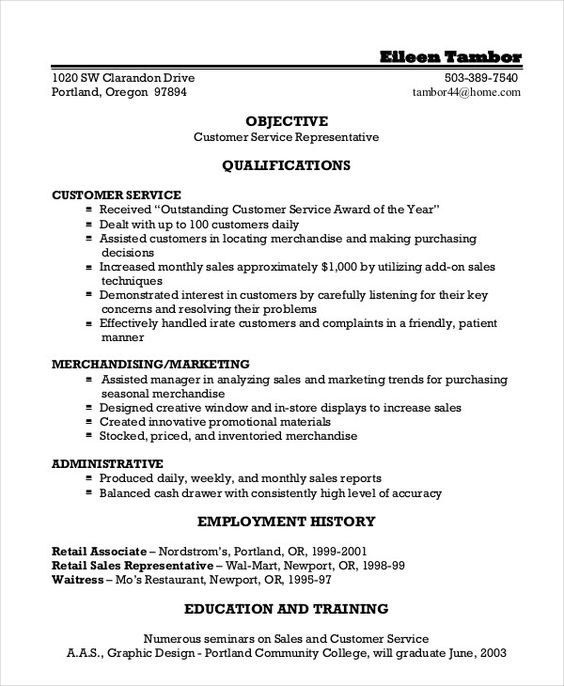 example resume sample for customer service position nice skills - sales associate objective for resume