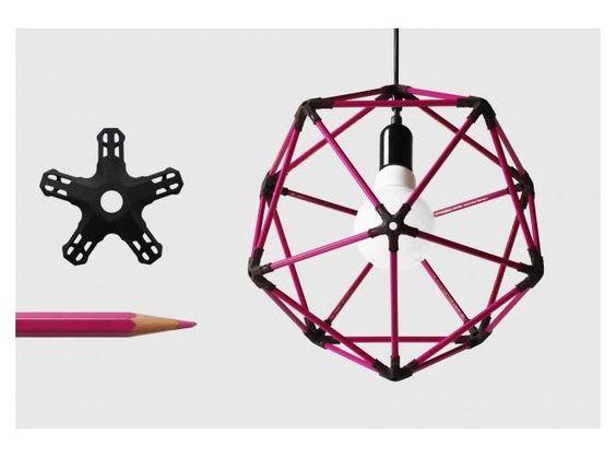 icosahedron lampshade from colour pencils by Michiel Cornelissen