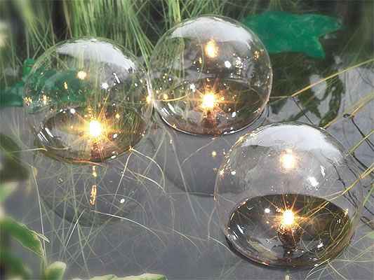 pond lighting product | set of glass globe floating pond lights, Reel Combo