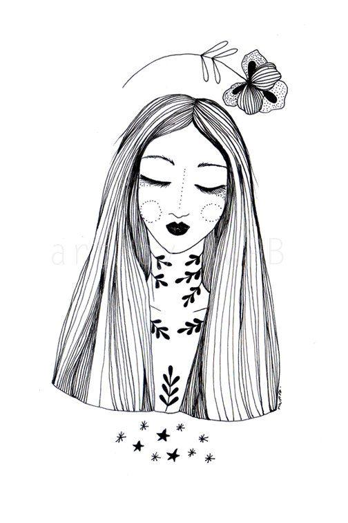 Flower Goddess. Art print. Illustration on Etsy, $10.00