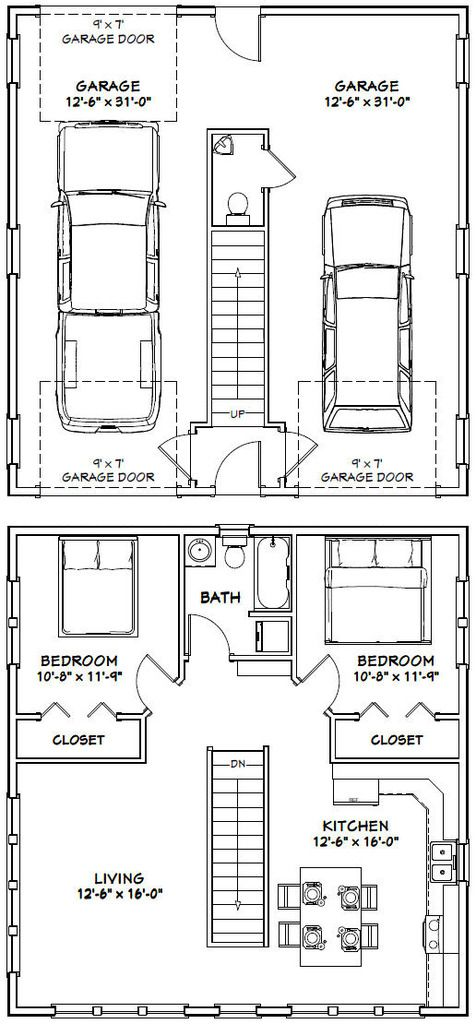 30x32 House -- #30X32H1 -- 961 sq ft - Excellent Floor Plans | Shed Plans |  Pinterest | House, Garage plans and Tiny houses