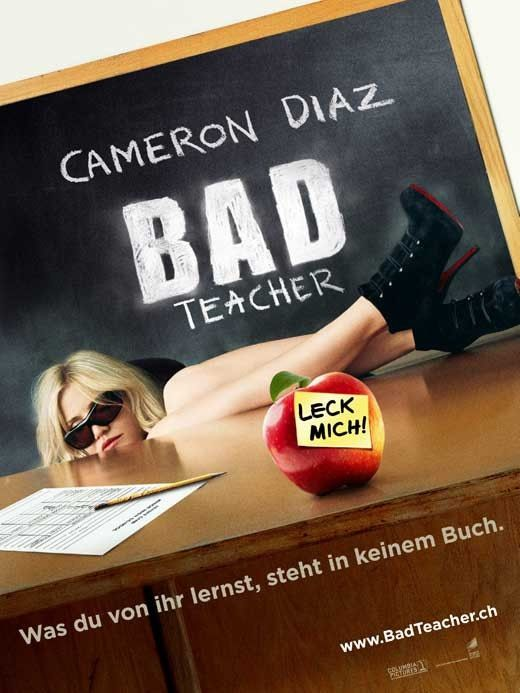 """Bad Teacher (Swiss) 27x40 Movie Poster (2011). CAST: Cameron Diaz, Lucy Punch, Jason Segel, Justin Timberlake, Phyllis Smith, John Michael Higgins, Dave Allen, Jillian Armenante, Matthew J. Evans, Kaitlyn Dever, Kathryn Newton, Igal Ben Yair, Aja Bair, Andra Nechita, Noah Munck; DIRECTED BY: Jake Kasdan;  Features:    27"""" x 40""""   Packaged with care - ships in sturdy reinforced packing material   Made in the USA  SHIPS IN 1-3 DAYS"""