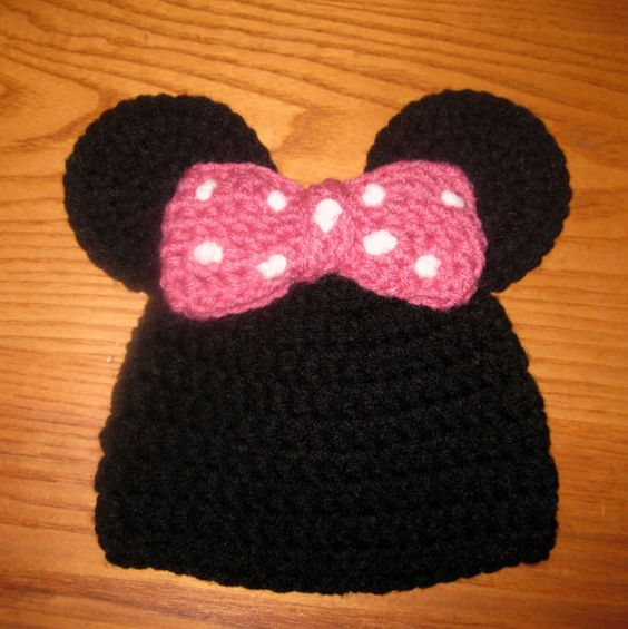 Minnie Mouse Inspired Hat with Pink Bow and Round by NeedleKrazy, $18.00