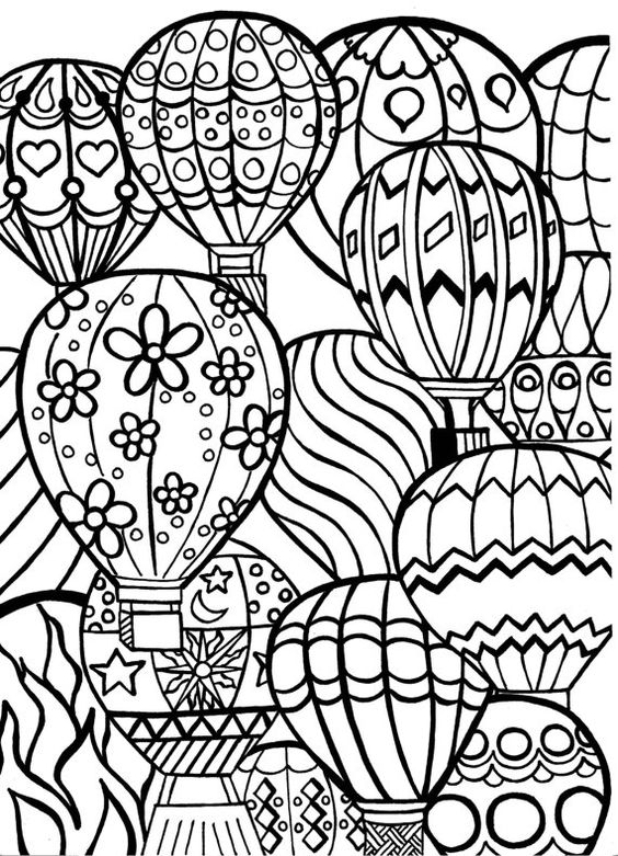 Coloring Page For Adults Hot Air Balloons Hand By