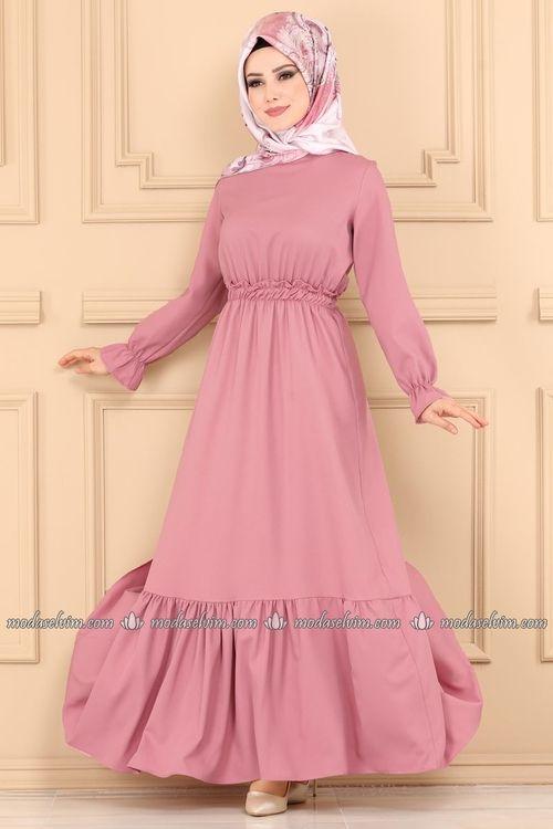 Modaselvim Elbise Beli Lastikli Tesettur Elbise 5030ef311 Pudra Moda Stilleri The Dress Basortusu Modasi