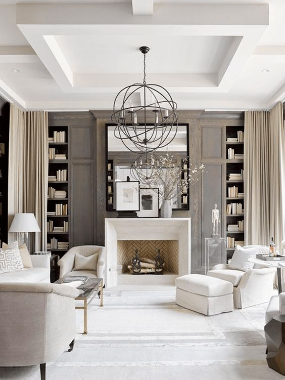 White Living Room With Dark Taupe Wood Paneling Sherwin