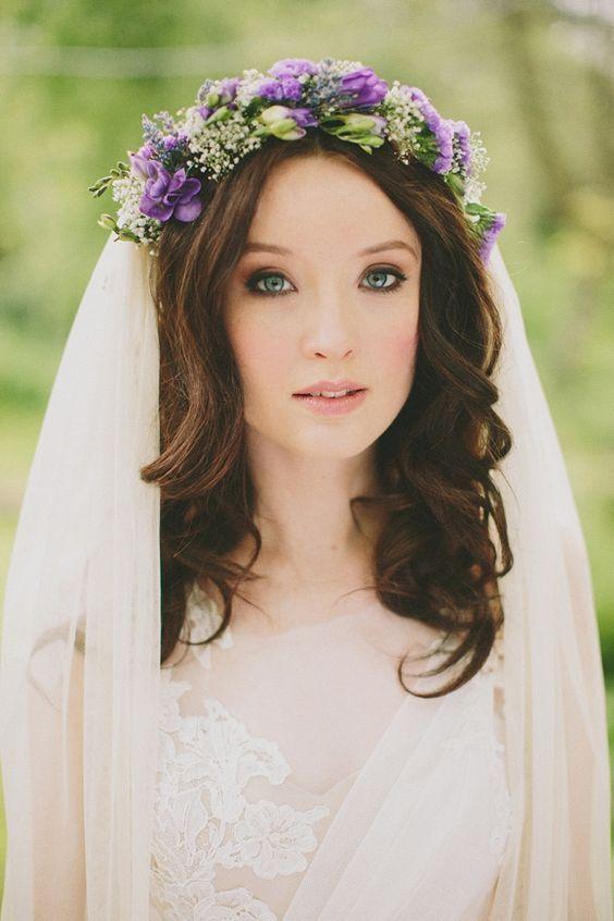 Purple Flower Crown Easiest Way To Get Ultimate Beauty And Grace Darling Headbands Flowers In Hair Loose Wedding Hair Wedding Makeup Bridesmaid