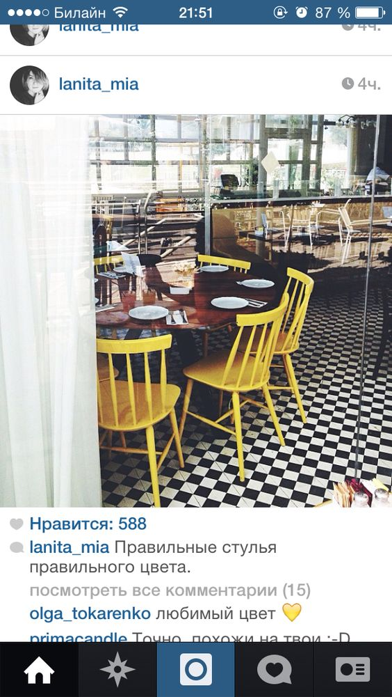 Yellow chair in cafe