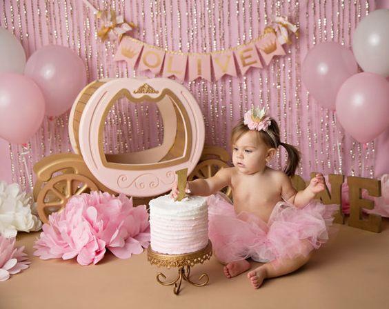 PINK & GOLD First Birthday BANNER / Princess banner / Cake smash banner / Princess baby shower / Cinderella birthday banner / Princess crown