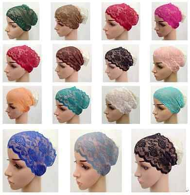New-Color-Lace-Muslim-Inner-Hijab-Caps-Islamic-Underscarf-Hats-FL1