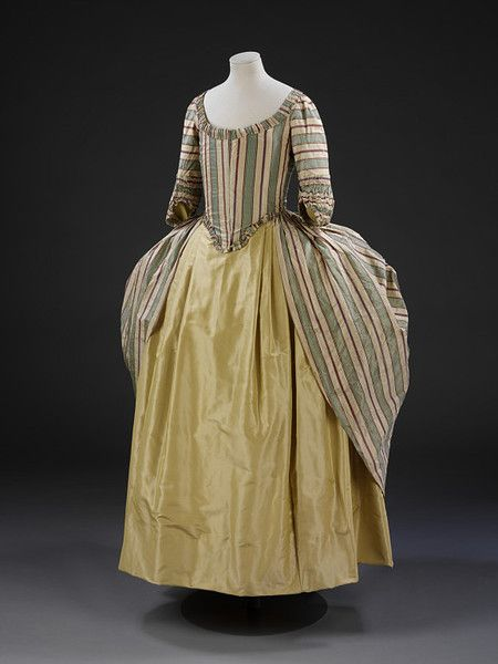 Polonaise gown. British, ca 1775-1780.  Silk, lined with linen.