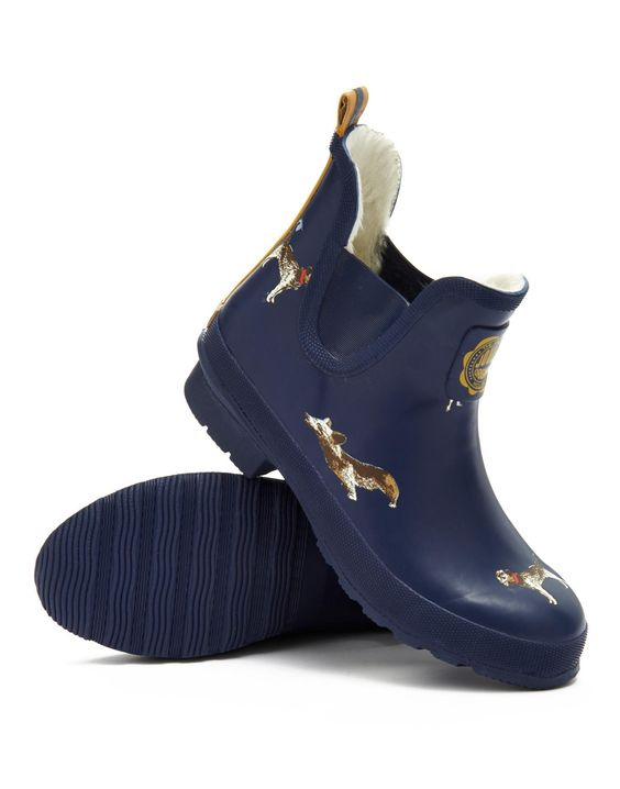 French Navy Dog Wellibob Womens Ankle Rain Boot Wellies | Joules ...