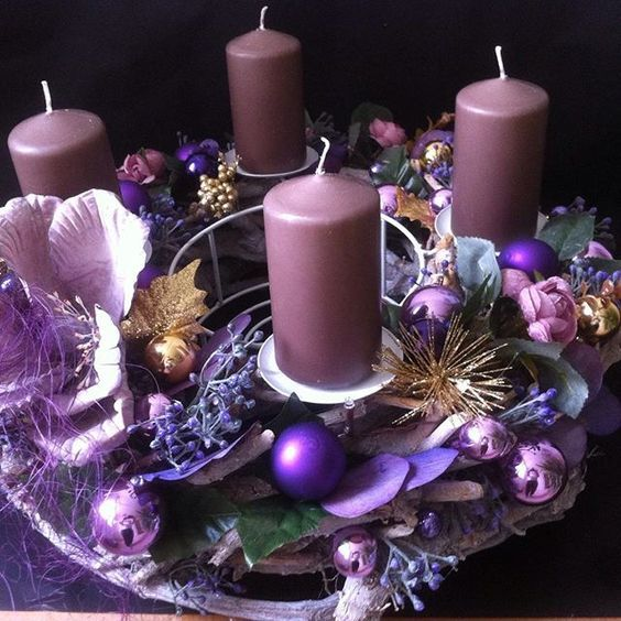 Purple Candles Add To The Holiday Feel Purple Candles Purple Christmas Decorations