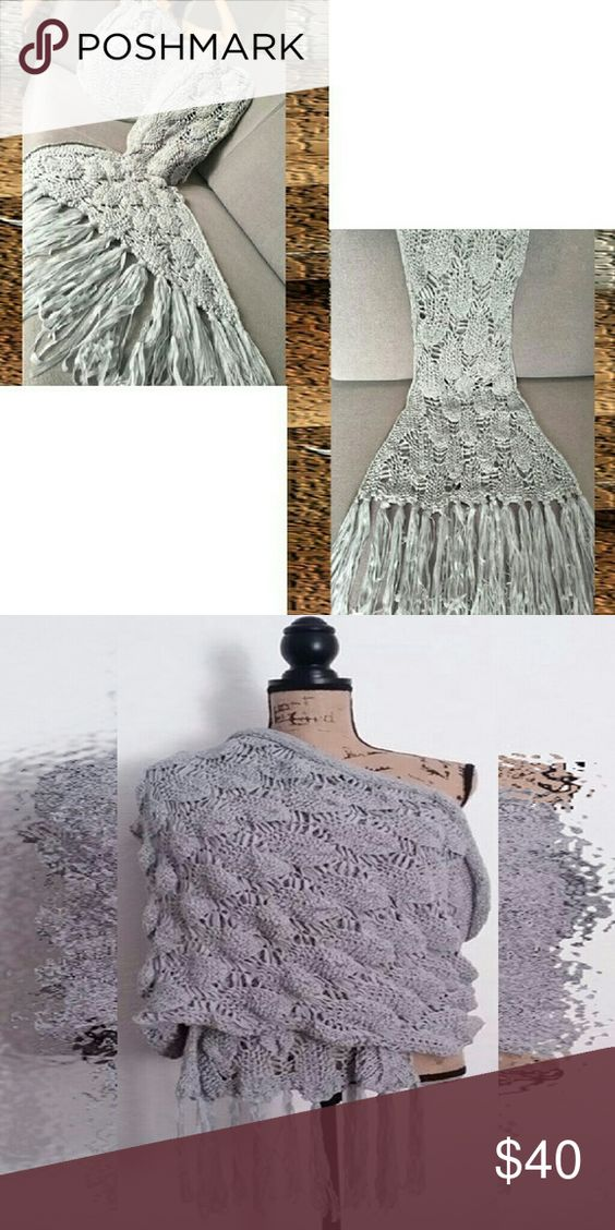 Knitted Scale & Tassels Mermaid Blanket Beautiful knit personal blanket. Lightweight ~ perfect for home, travel or the office. Silvery gray hue and fringe give this popular and trendy style of blanket a sophisticated, grown up look that enhances your wardrobe and home decor.   Measures 180L * 90W CM Accessories Scarves & Wraps