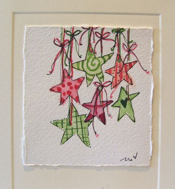 Christmas Watercolor Card Stars I Love by betrueoriginalart