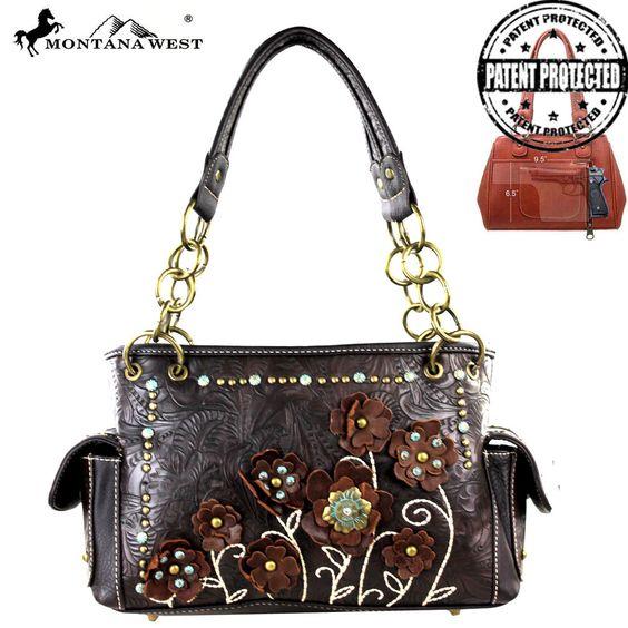 MW283G-8085 Montana West Tooled Concealed Carry Handbag