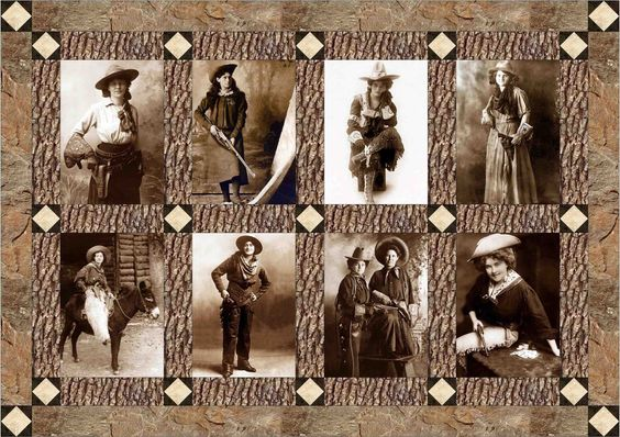 Vintage cowgirl quilt block set based on photographs of old cowgirls from the early 1900's. These old cowgirl quilt blocks come with a free quilt pattern and make a great western quilt.: