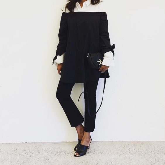 @tibi • When one shirt just isn't enough OR how to winterize your #offtheshoulder. : @shalinipapas in Tibi's Satin Poplin Off the Shoulder Tunic.
