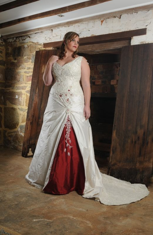 Real Bride White Wedding Dress With Red Accent Red Wedding