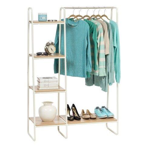 Iris Metal Garment Rack With Wood Shelves Target Wooden Closet