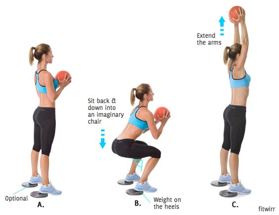 Medicine Ball Squat to Shoulder Press. This total body squat to ...