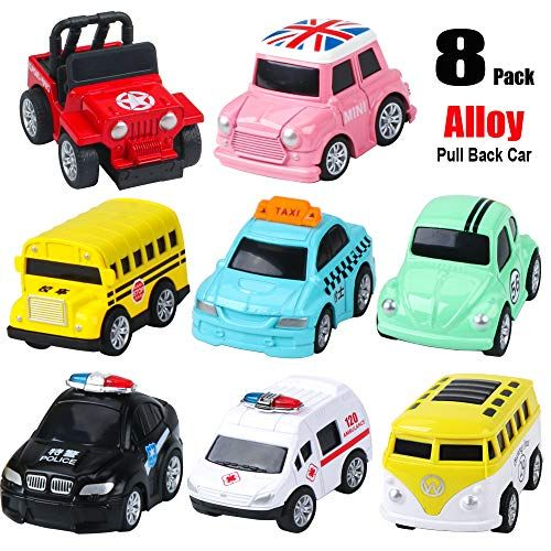 Alloy Pull Back Cars 8 Pack Mini Die Cast Car Toys Pull Back And