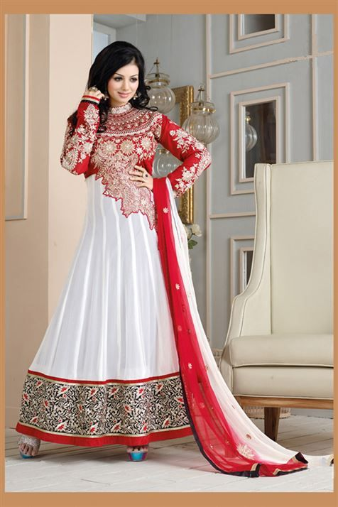 Spell binding Ayesha Takia White, Rust Georgette Heavy Embroidered Long  Anarkali Suit