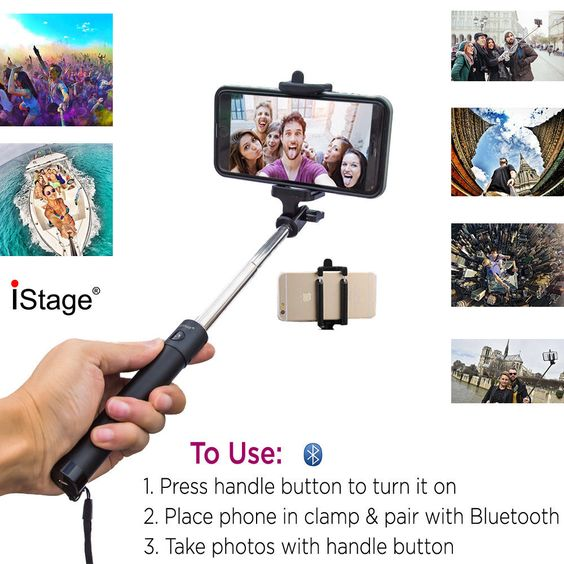 Bluetooth Shutter Extendable Handheld Selfie Stick Monopod for iPhone Samsung #iStage