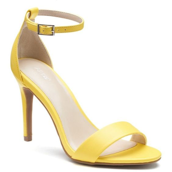 Apt. 9® Women's High Heel Sandals, Size: 6.5, Yellow ($35) ❤ liked on Polyvore featuring shoes, sandals, yellow, print shoes, apt. 9 sandals, open toe shoes, yellow open toe shoes and buckle sandals